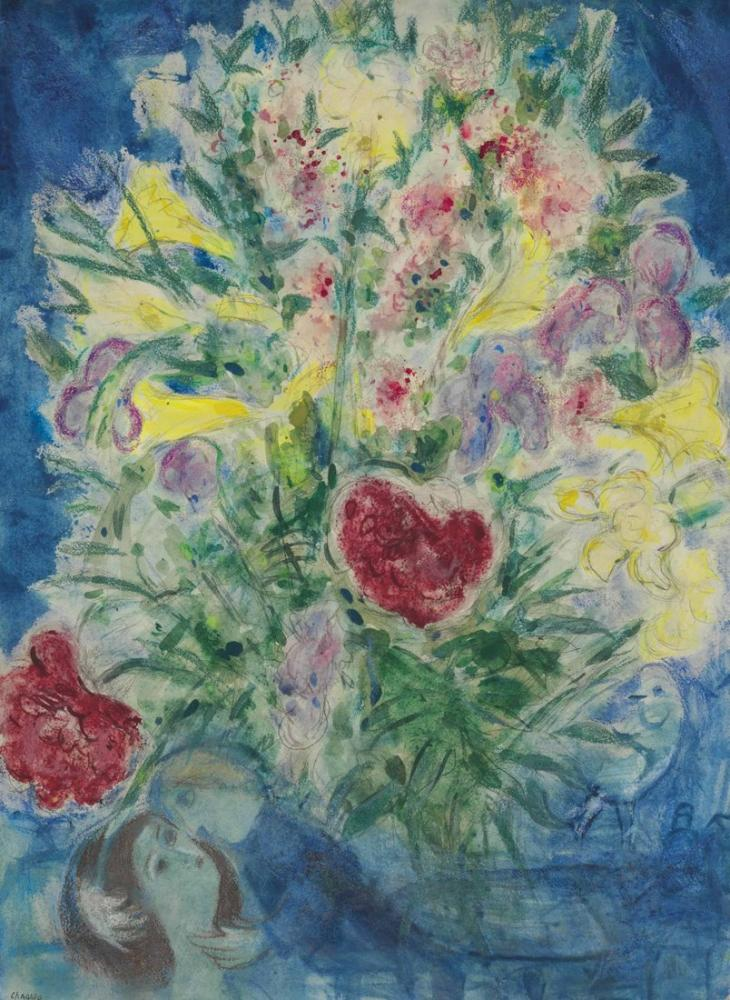 Marc Chagal Amoureux Sous Un Bouquet, Figure, Marc Chagall, kanvas tablo, canvas print sales