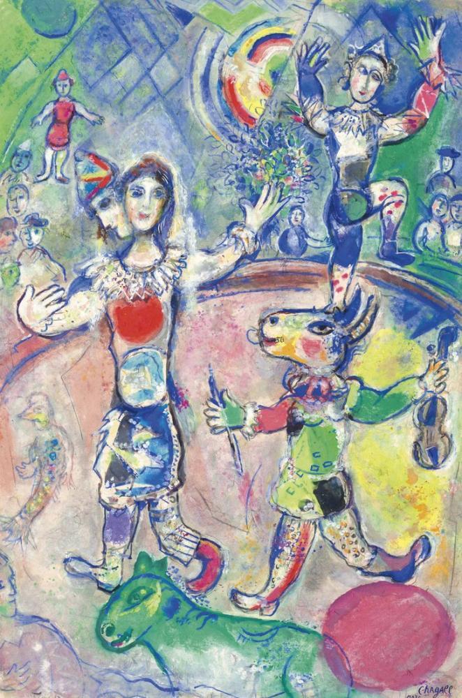 Marc Chagall Sirkte Gökkuşağı Var, Figür, Marc Chagall, kanvas tablo, canvas print sales