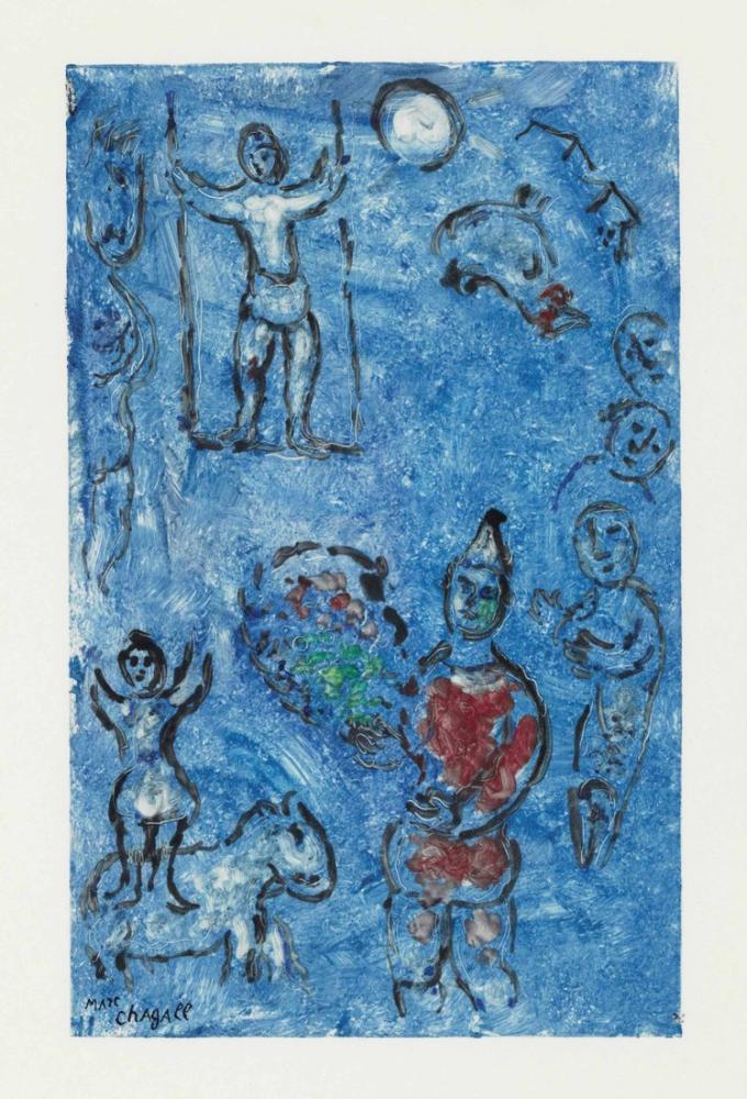 Marc Chagall Sirk Mavi Arka Plan, Figür, Marc Chagall, kanvas tablo, canvas print sales