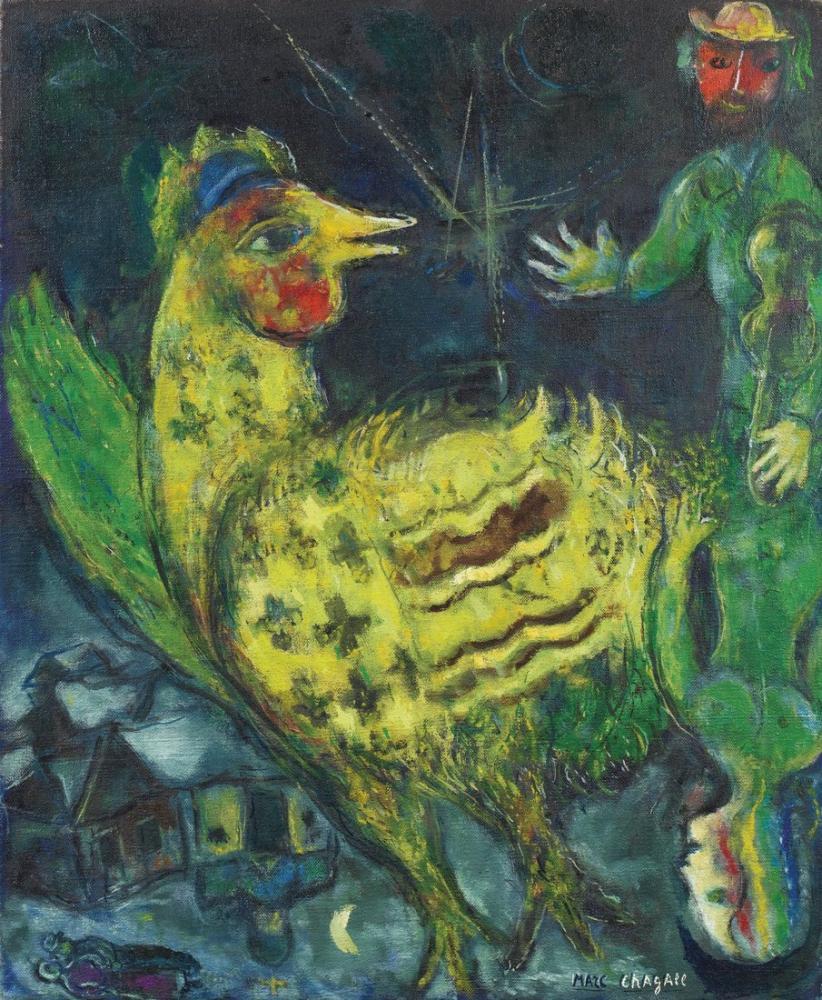 Marc Chagall Siyah Bir Arka Plan Üzerinde Horoz, Figür, Marc Chagall, kanvas tablo, canvas print sales