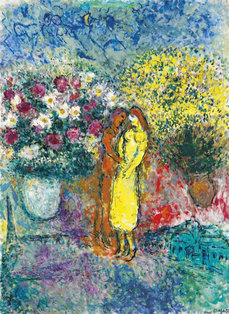 Marc Chagall İki Buket İle Çift, Figür, Marc Chagall, kanvas tablo, canvas print sales