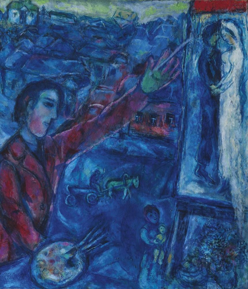 Marc Chagall Le Peintre Devant Le Chevalet, Figure, Marc Chagall, kanvas tablo, canvas print sales