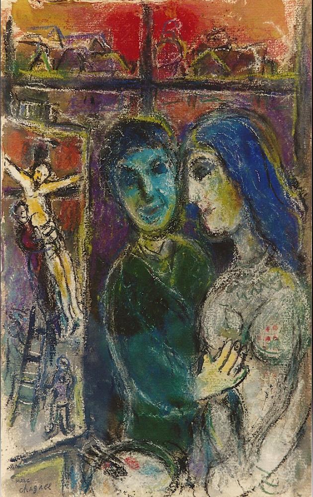 Marc Chagall Ressam Ve Çarmıha Germe, Figür, Marc Chagall, kanvas tablo, canvas print sales