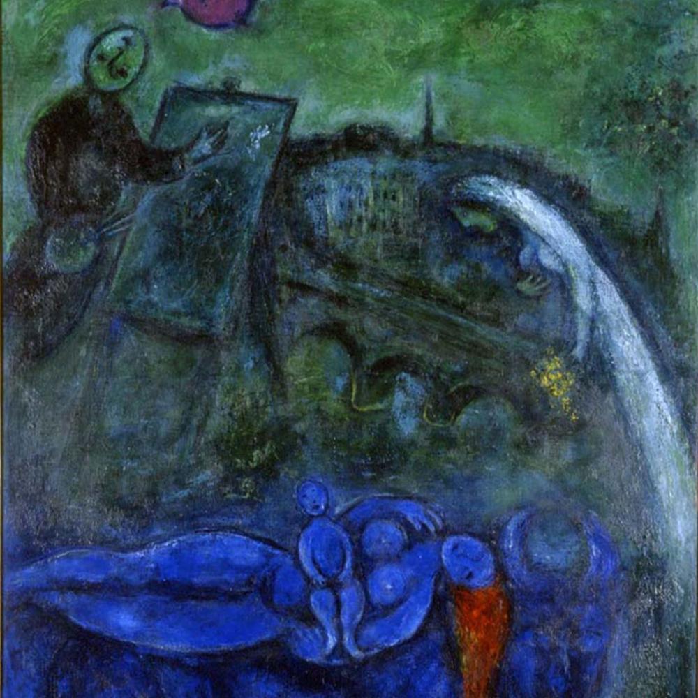 Marc Chagall Yeni Köprü, Figür, Marc Chagall, kanvas tablo, canvas print sales