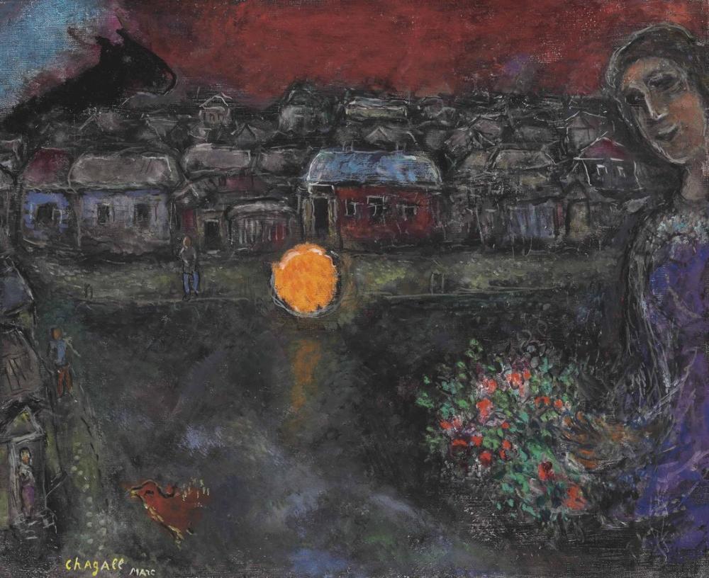 Marc Chagall Yansıma Veya Gece Manzarası, Figür, Marc Chagall, kanvas tablo, canvas print sales