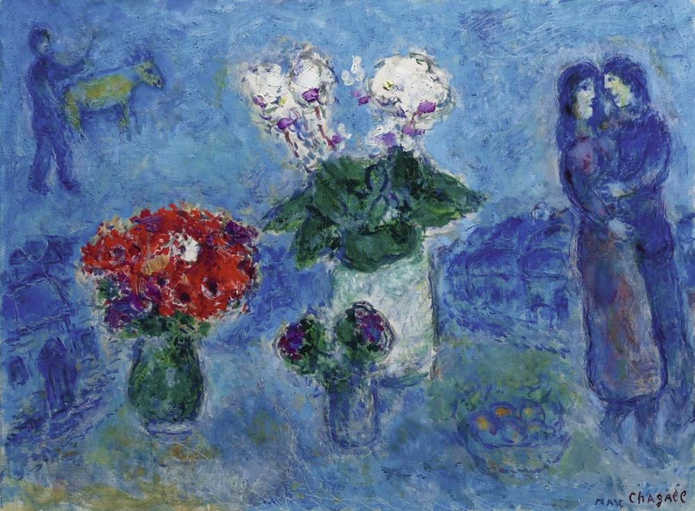 Marc Chagall Üç Buketleri İle Aşıklar, Figür, Marc Chagall, kanvas tablo, canvas print sales