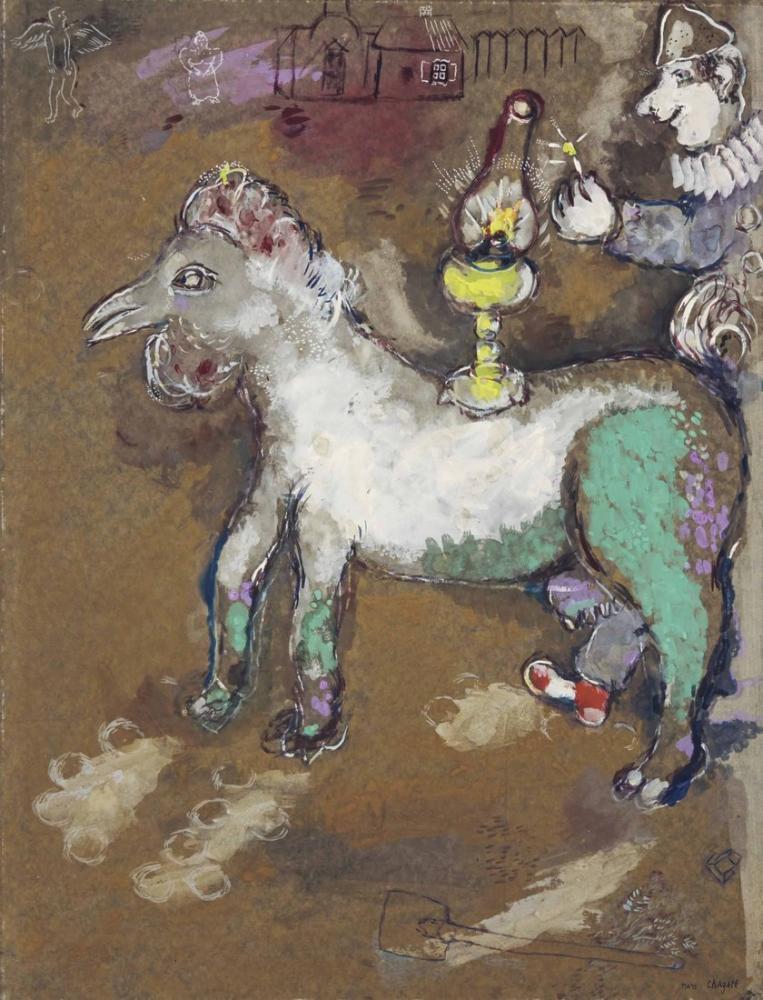Marc Chagall Palyaçolar Ve Kandil, Figür, Marc Chagall, kanvas tablo, canvas print sales