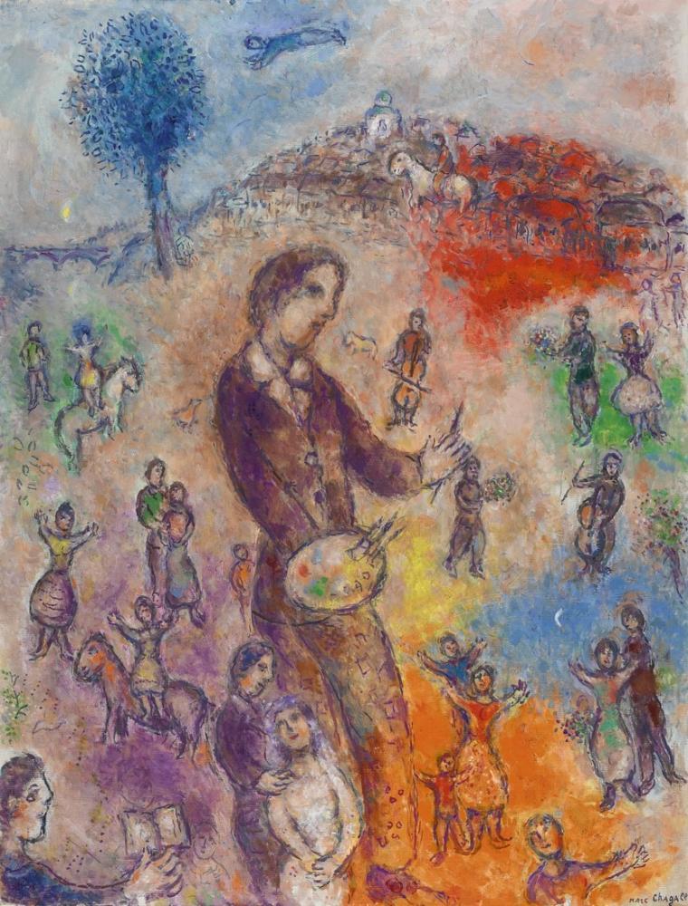 Marc Chagal Artist At A Festival, Figure, Marc Chagall, kanvas tablo, canvas print sales