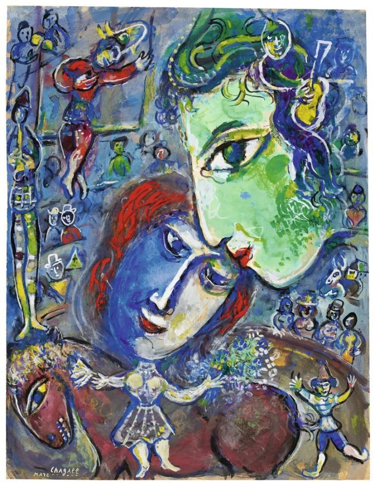 Marc Chagall İki Büyük Yüz Yeşil Ve Mavi Sirk, Figür, Marc Chagall, kanvas tablo, canvas print sales