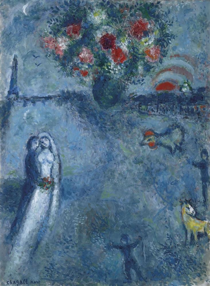 Marc Chagall Seine Kenarındaki Evlilikler, Figür, Marc Chagall, kanvas tablo, canvas print sales