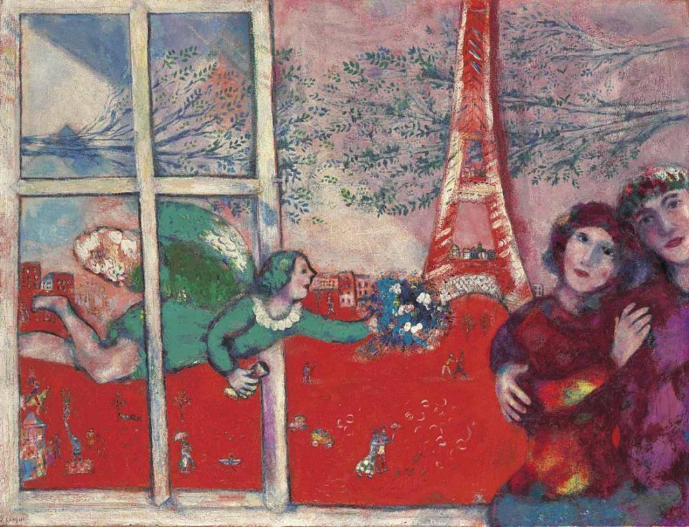 Marc Chagall Eyfel Kulesi Evlilik, Figür, Marc Chagall, kanvas tablo, canvas print sales