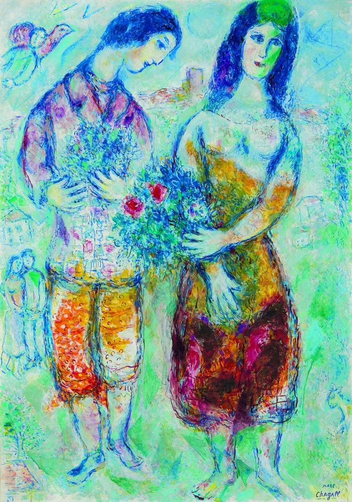 Marc Chagall Çiftçiler, Figür, Marc Chagall, kanvas tablo, canvas print sales
