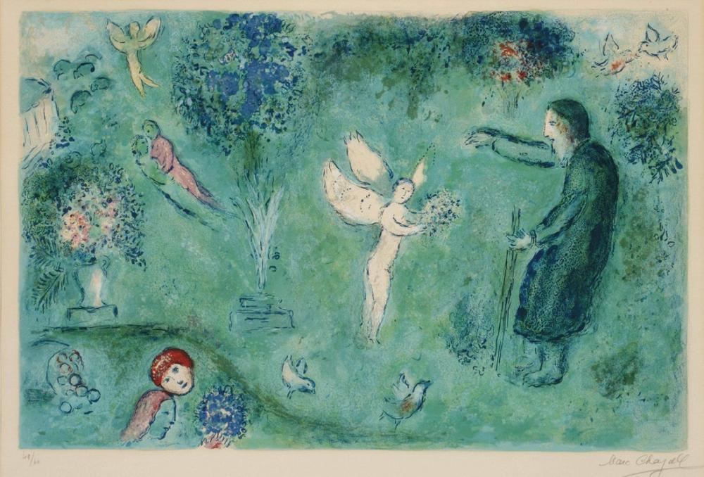 Marc Chagall Daphnis ve Chloe Kaynaklı Philetas Bahçeleri, Figür, Marc Chagall, kanvas tablo, canvas print sales