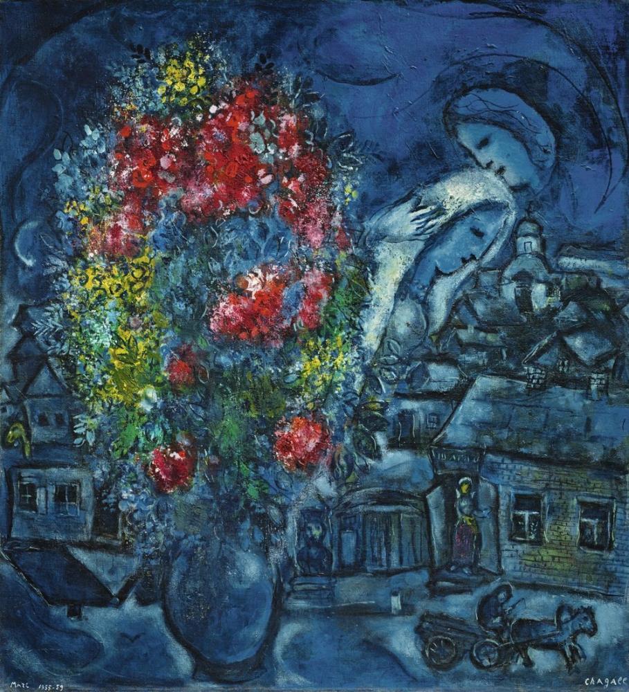 Marc Chagall Mavi Köy, Figür, Marc Chagall, kanvas tablo, canvas print sales