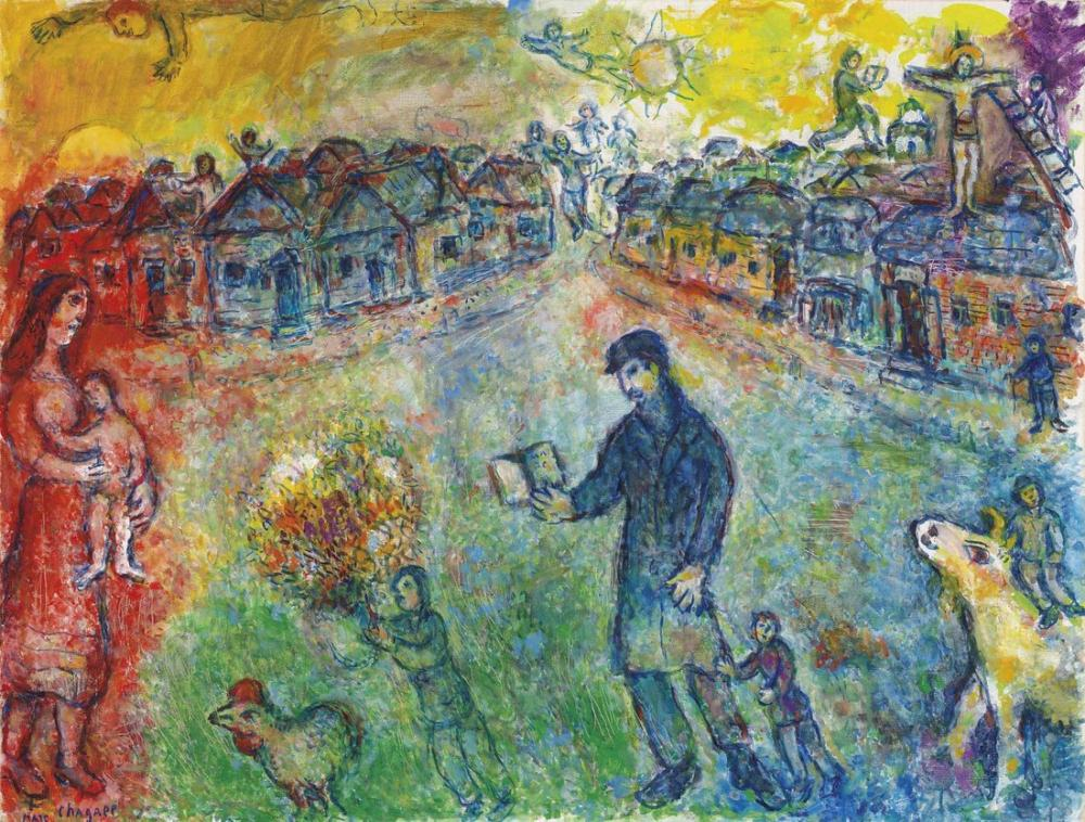 Marc Chagall Gezgin, Figür, Marc Chagall, kanvas tablo, canvas print sales