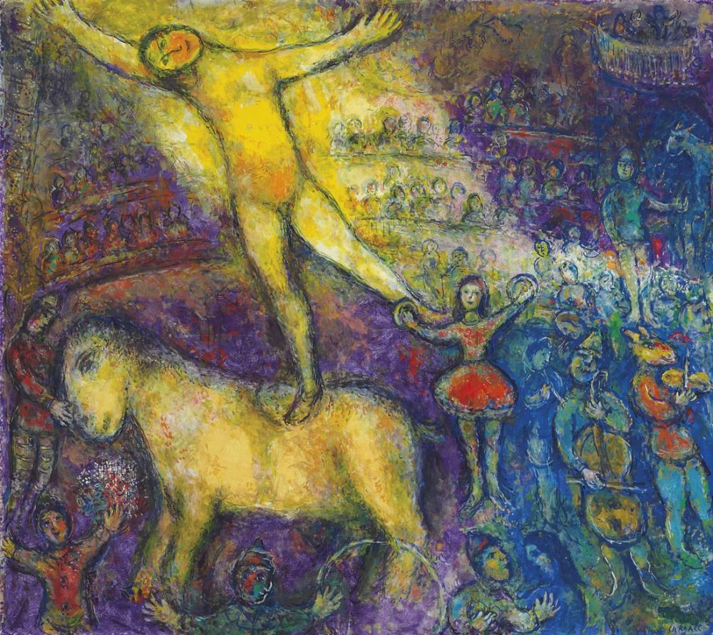 Marc Chagal Au Cirque II, Figure, Marc Chagall, kanvas tablo, canvas print sales
