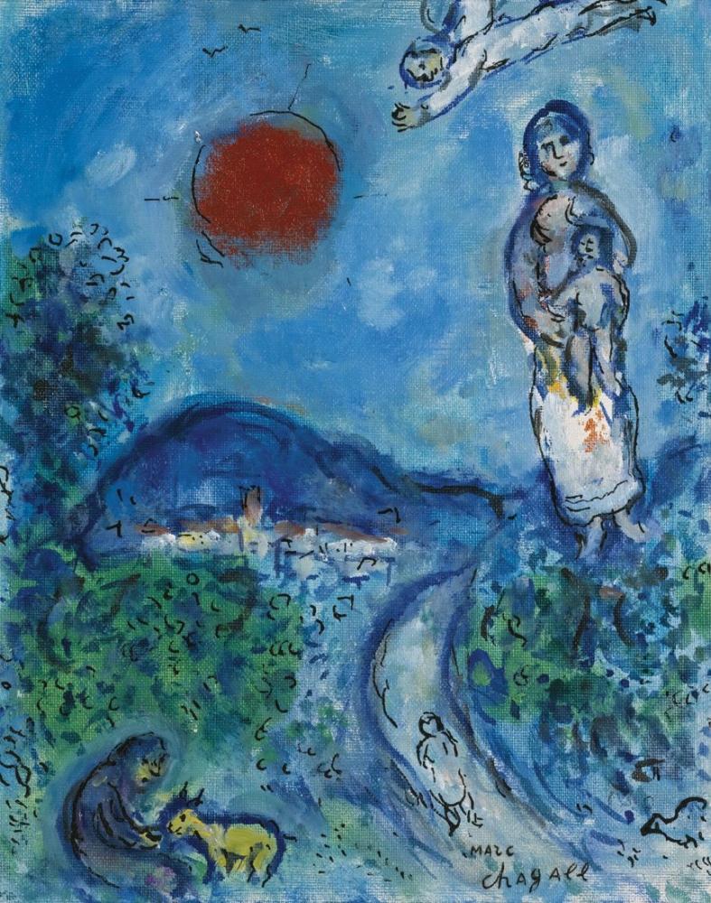 Marc Chagall Zambak Altında Aşıklar, Figür, Marc Chagall, kanvas tablo, canvas print sales