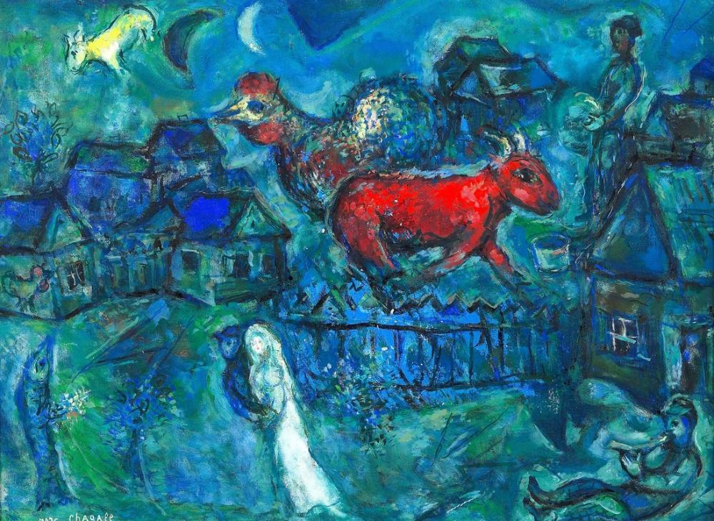 Marc Chagall Köyde Evli, Figür, Marc Chagall, kanvas tablo, canvas print sales