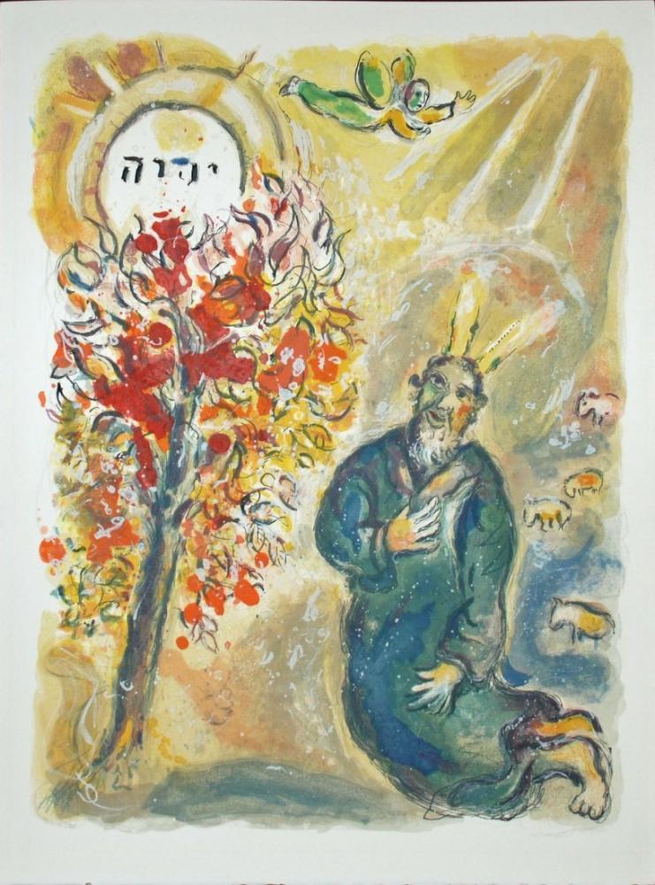 Marc Chagall Moses And The Burning Bush, Figure, Marc Chagall, kanvas tablo, canvas print sales
