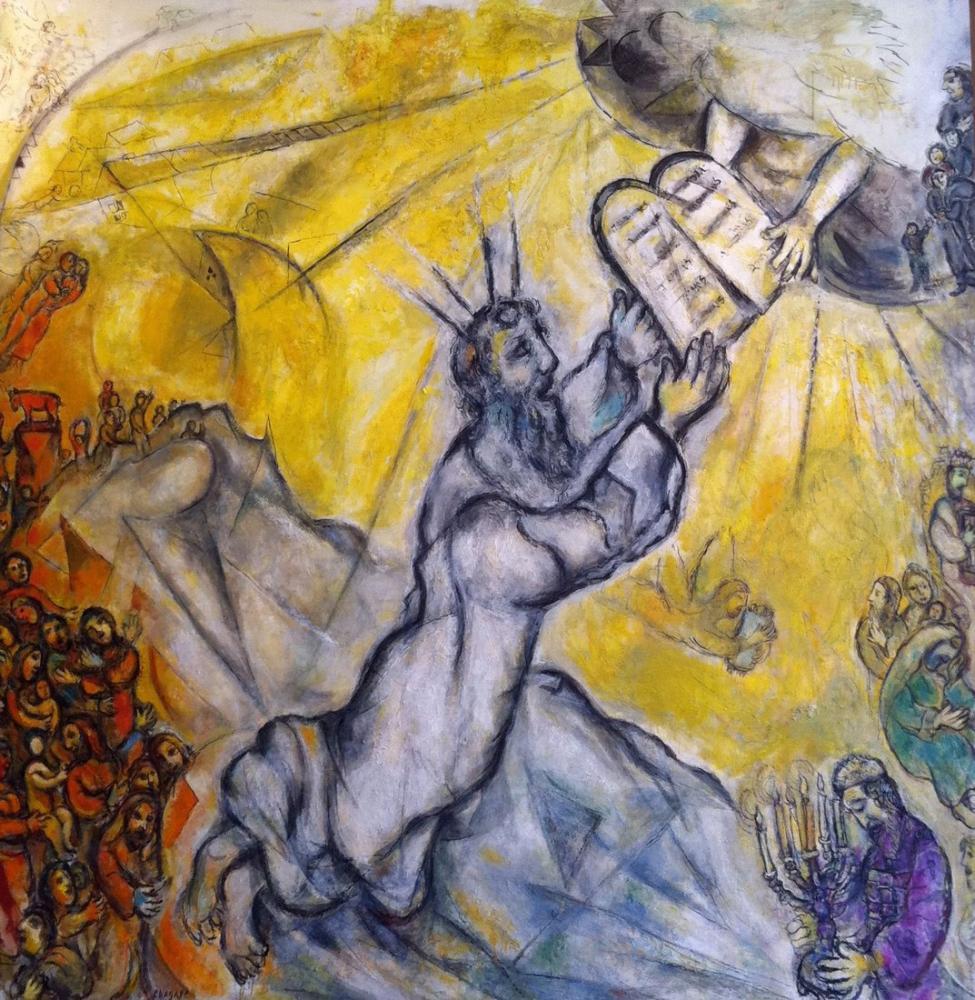 Marc Chagall Musa Antlaşmanın Tabletlerini Aldı, Figür, Marc Chagall, kanvas tablo, canvas print sales