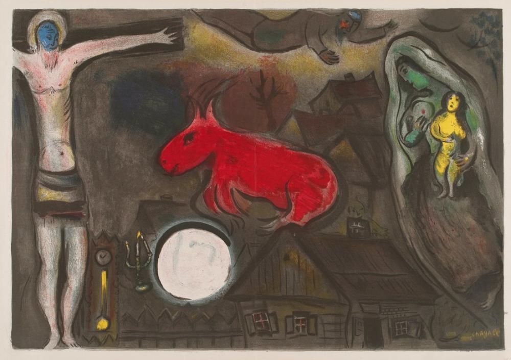 Marc Chagall Mistik Çarmıha Gerilim, Figür, Marc Chagall, kanvas tablo, canvas print sales
