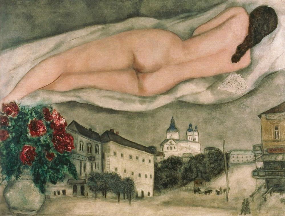 Marc Chagall Nude Over Vitebsk, Figure, Marc Chagall, kanvas tablo, canvas print sales