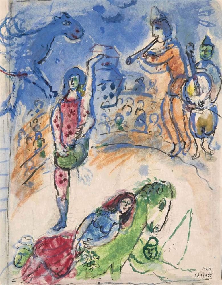 Marc Chagal Au Cirque IV, Figure, Marc Chagall, kanvas tablo, canvas print sales