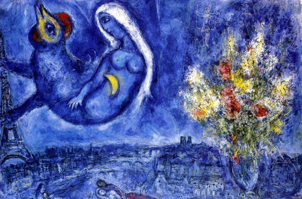 Marc Chagall Penceremden Paris II, Figür, Marc Chagall, kanvas tablo, canvas print sales