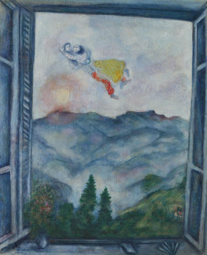 Marc Chagall Peyra Cava Manzara Veya Peyra Cava Aşıkları, Figür, Marc Chagall, kanvas tablo, canvas print sales