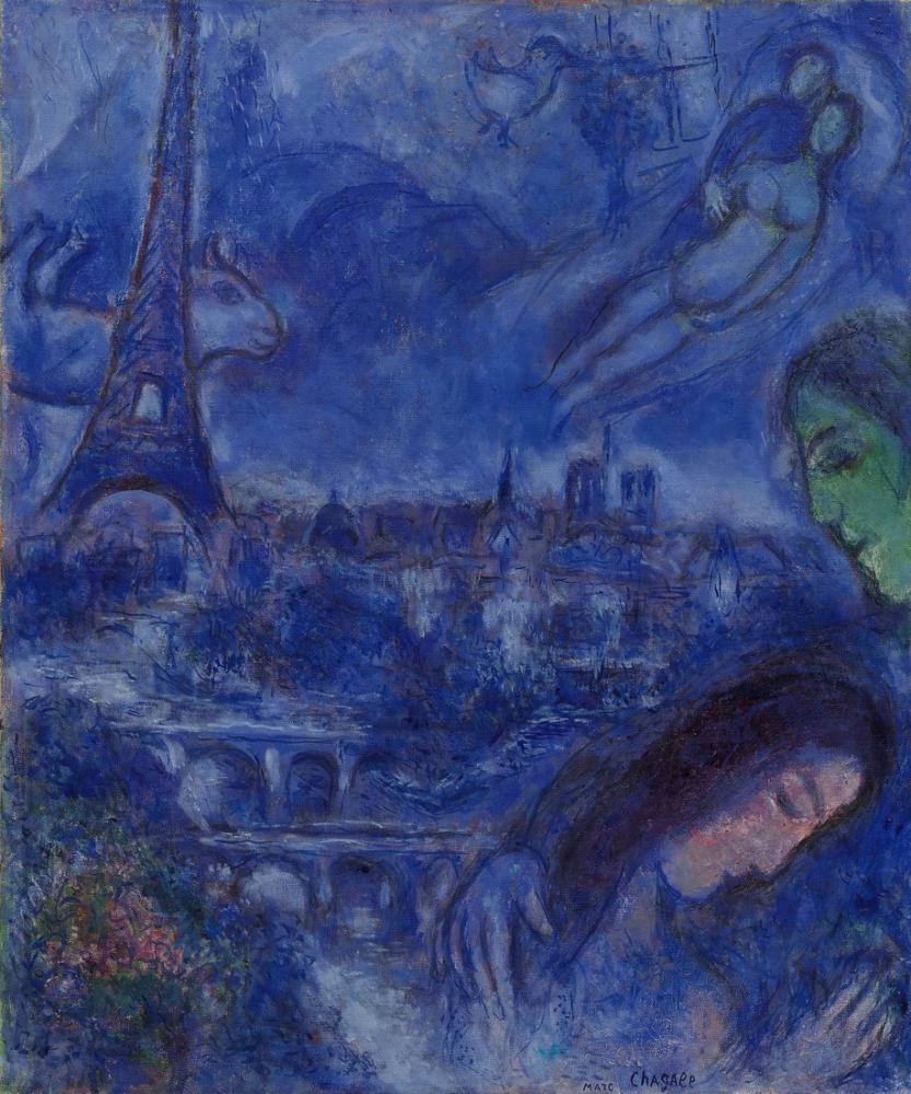 Marc Chagall Paysage De Paris, Figure, Marc Chagall, kanvas tablo, canvas print sales
