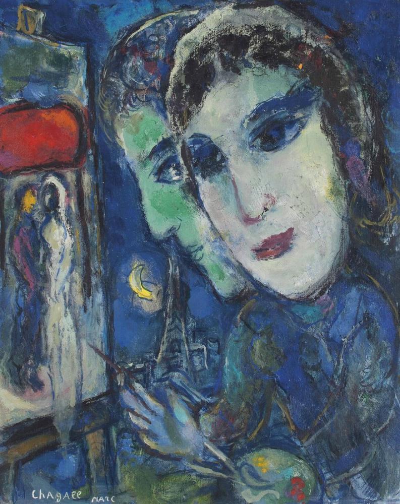 Marc Chagall Paris Manzara Mavi Olarak, Figür, Marc Chagall, kanvas tablo, canvas print sales