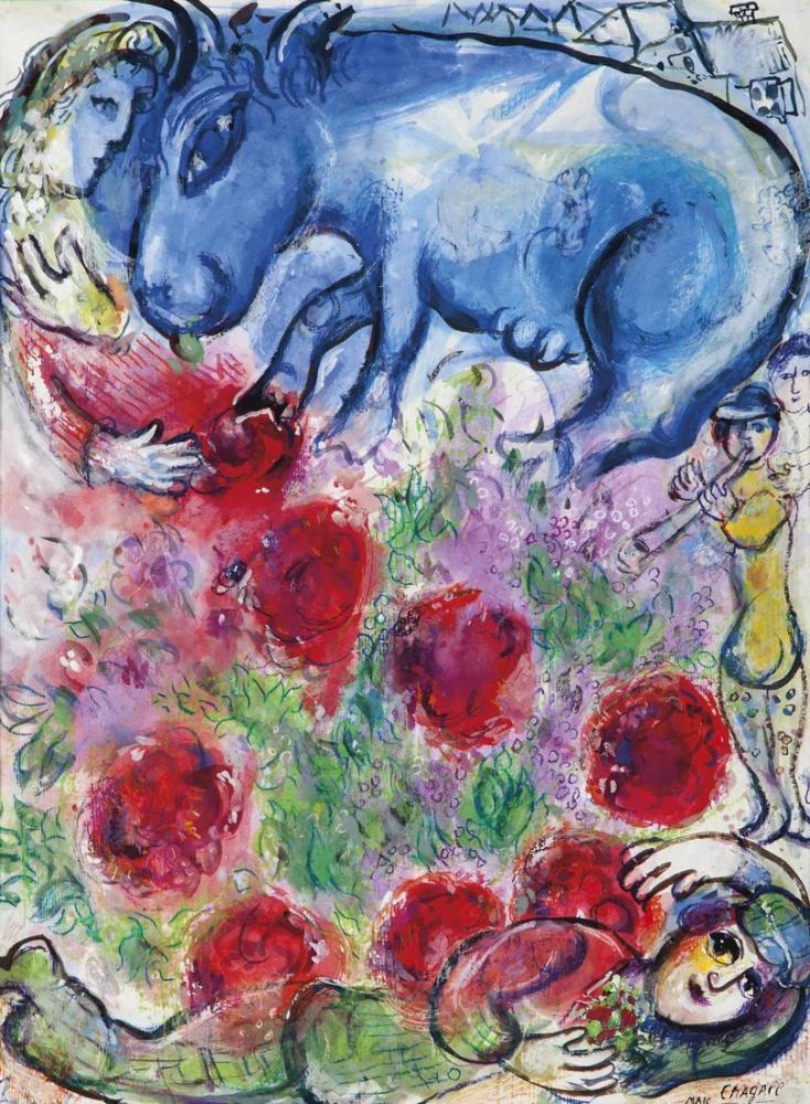 Marc Chagall Köylü Yalan Söylüyor, Figür, Marc Chagall, kanvas tablo, canvas print sales