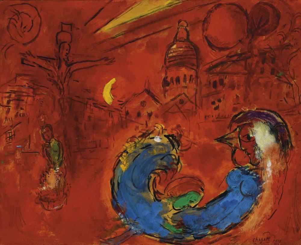 Marc Chagall Höyüğün Yeri, Figür, Marc Chagall, kanvas tablo, canvas print sales