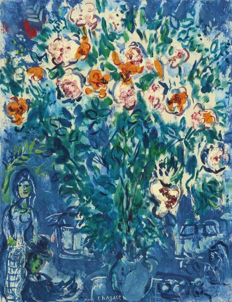 Marc Chagal Autour De Bouquet De Ferme, Figure, Marc Chagall, kanvas tablo, canvas print sales