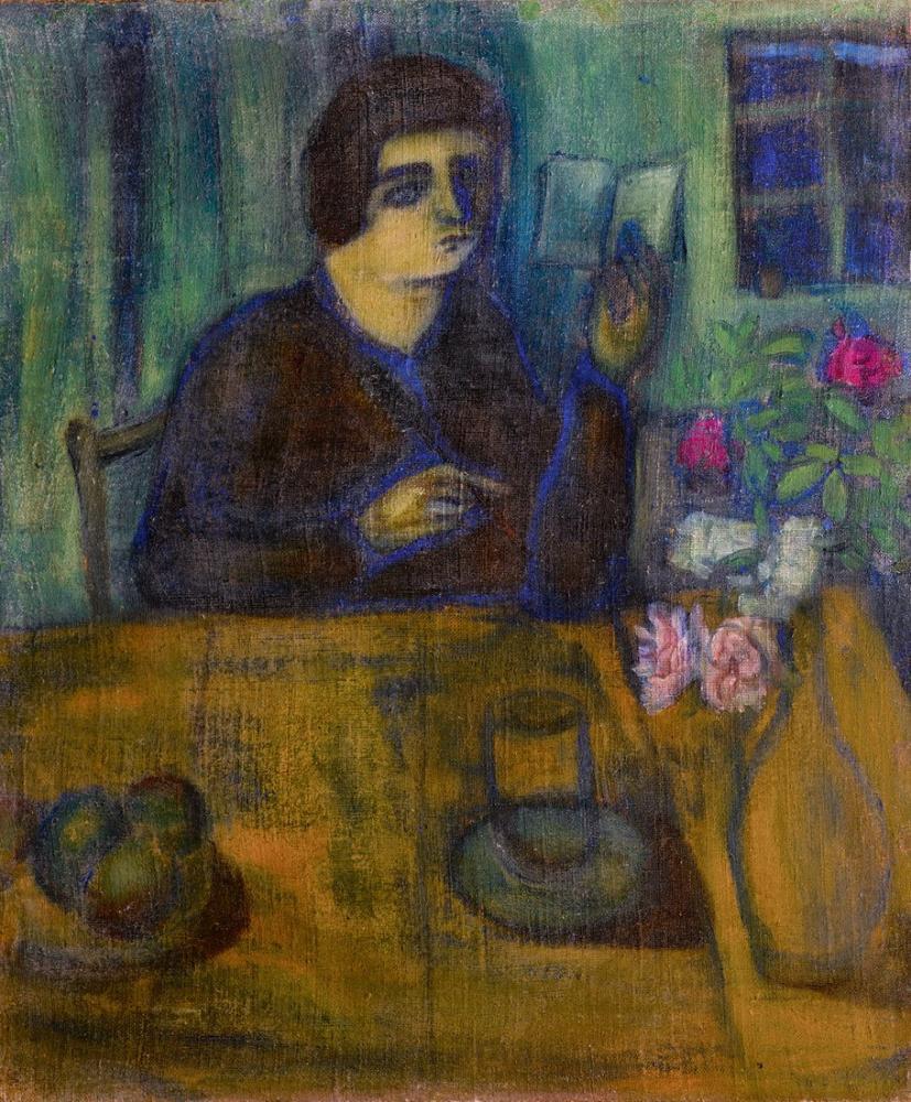 Marc Chagall Sanatçının Kız Kardeşi Portresi, Figür, Marc Chagall, kanvas tablo, canvas print sales