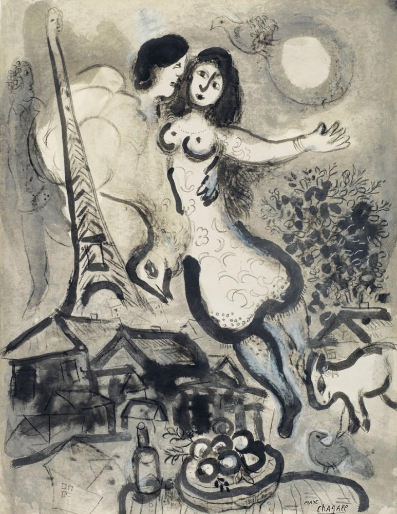 Marc Chagal Autour De La Nuit, Figure, Marc Chagall, kanvas tablo, canvas print sales