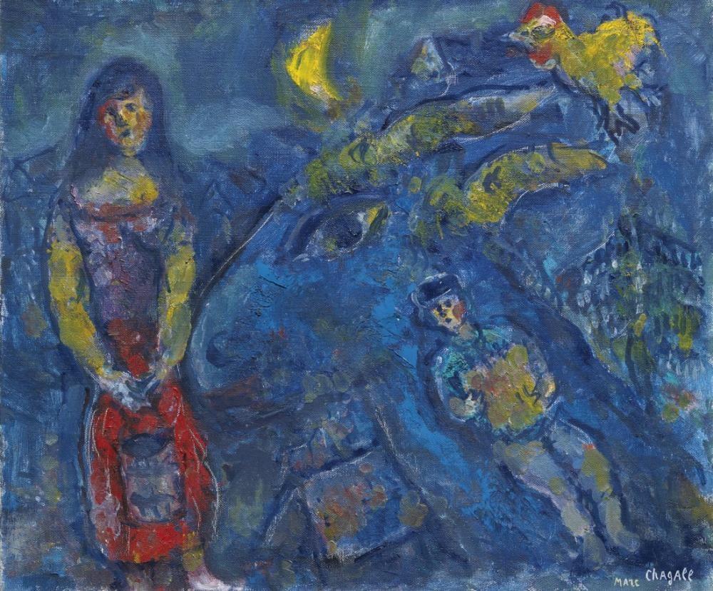 Marc Chagall Mavi Hayvan İle Köy Manzara, Figür, Marc Chagall, kanvas tablo, canvas print sales