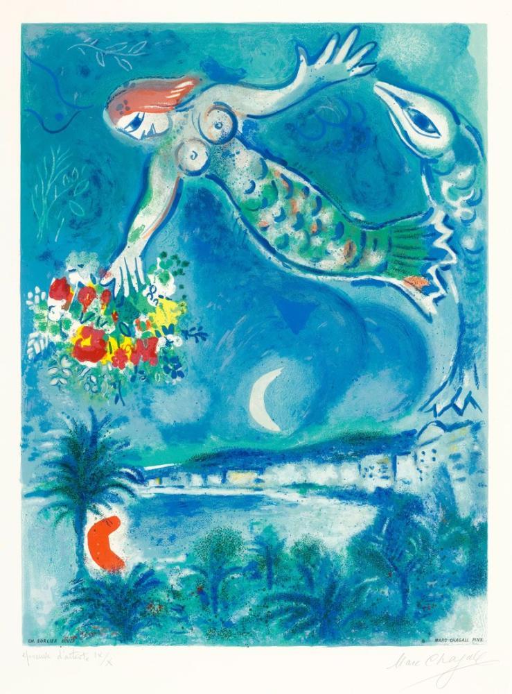 Marc Chagall Deniz Kızı Ve Balık Org, Figür, Marc Chagall, kanvas tablo, canvas print sales