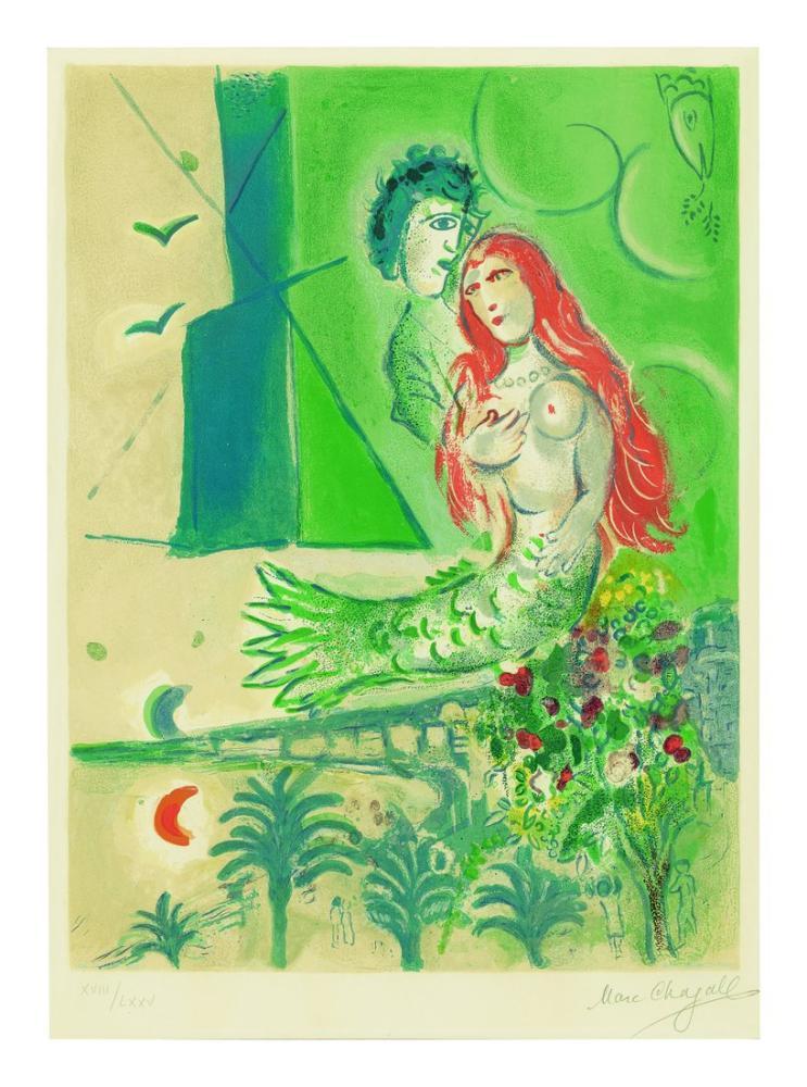 Marc Chagall Şairl İle Deniz Kızı, Figür, Marc Chagall, kanvas tablo, canvas print sales