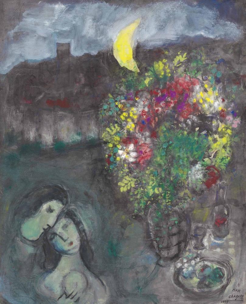 Marc Chagall Soir De Vence, Figure, Marc Chagall, kanvas tablo, canvas print sales