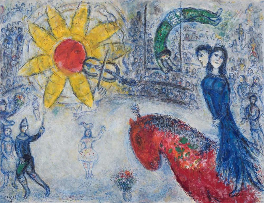 Marc Chagall Kırmızı At  İle Güneş, Figür, Marc Chagall, kanvas tablo, canvas print sales