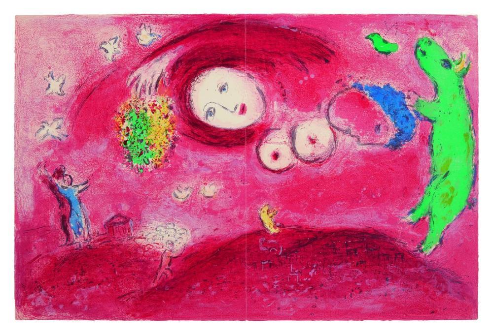 Marc Chagall Çayırda Bahar, Figür, Marc Chagall, kanvas tablo, canvas print sales