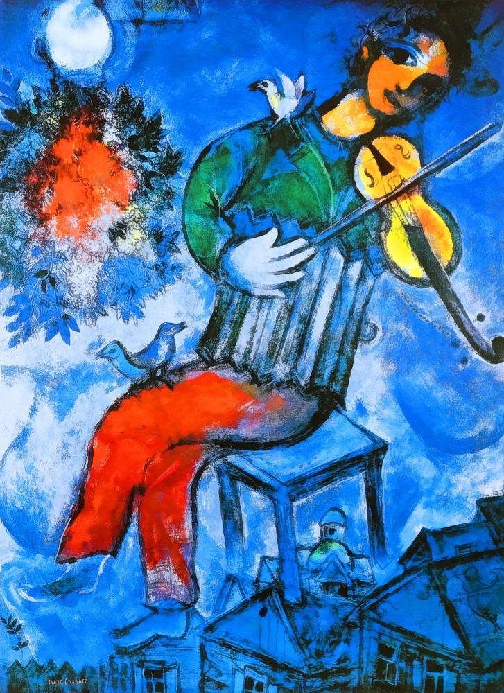 Marc Chagall Mavi Kemancı, Figür, Marc Chagall, kanvas tablo, canvas print sales