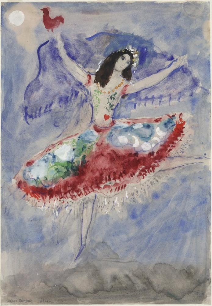 Marc Chagall Göbek Üzerinde Kalbin Dansçısı, Figür, Marc Chagall, kanvas tablo, canvas print sales