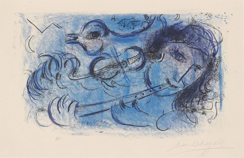 Marc Chagall Flüt Çalar, Figür, Marc Chagall, kanvas tablo, canvas print sales
