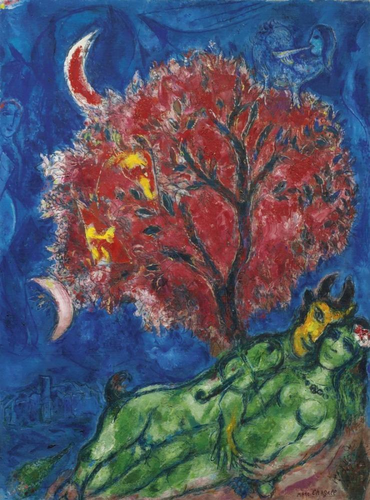 Marc Chagall The Red Tree, Figure, Marc Chagall, kanvas tablo, canvas print sales
