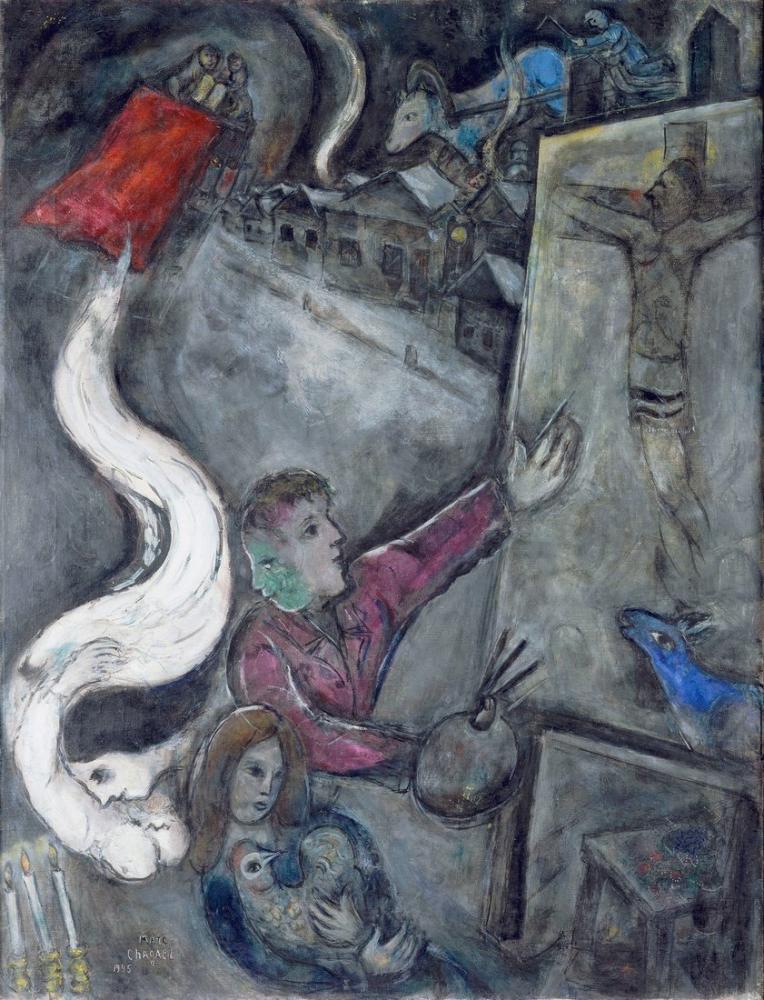 Marc Chagall Şehrin Ruhu, Figür, Marc Chagall, kanvas tablo, canvas print sales