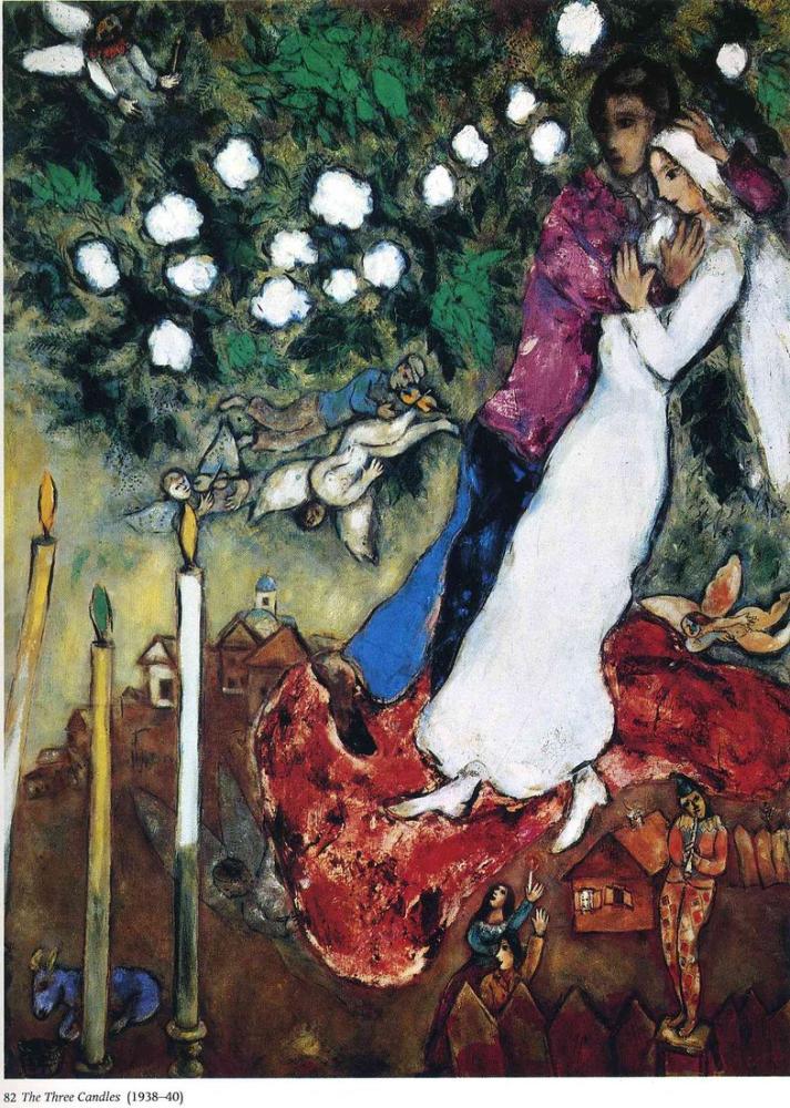 Marc Chagall Üç Mum, Figür, Marc Chagall, kanvas tablo, canvas print sales