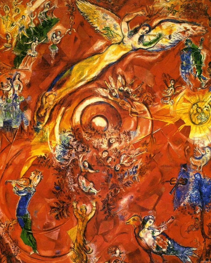Marc Chagall Müziğin Zaferi, Figür, Marc Chagall, kanvas tablo, canvas print sales
