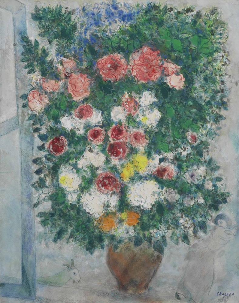 Marc Chagall Penceredeki Çiçek Vazo, Figür, Marc Chagall, kanvas tablo, canvas print sales